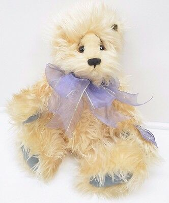 """Annette Funicello Bear Jointed Mohair Plush Collectible Purple Bow 18"""""""