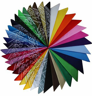 100% Cotton Dacron Paisley Bandanas Double Sided Head Wrap Scarf Fashion