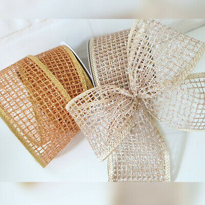 Wired Gold Silver or Copper Glitter Mesh Christmas Ribbon. Web Cake Wreath Tree