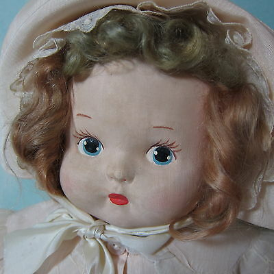 "1930s Mask Face KRUEGER? untagged 20"" precious cloth doll, original dress/coat"