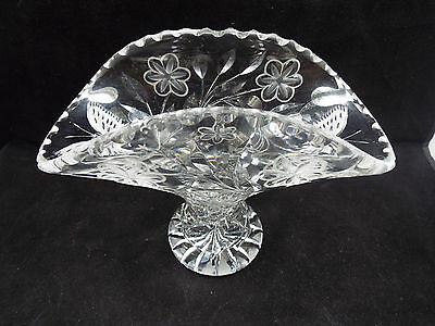 Cut Crystal Flared Top Vase, Butterfly & Floral Pattern
