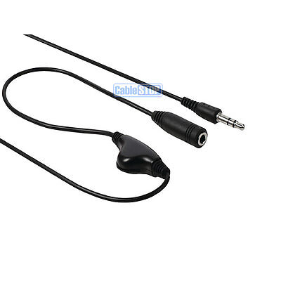 3.5mm MINI STEREO JACK HEADPHONE VOLUME CONTROL AUDIO EXTENSION AUX 1m CABLE