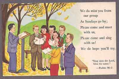 """Sunday school """"We do miss you from our group""""  unused postcard 1940's"""