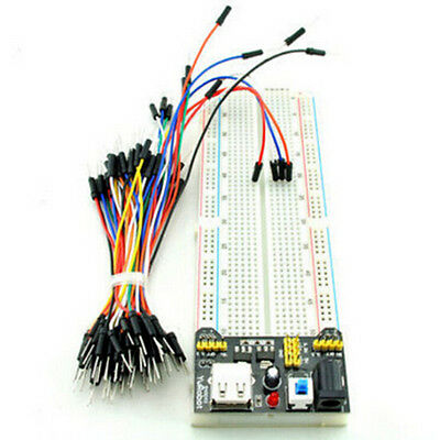 MB-102 830 Point Solderless PCB Breadboard+Power Supply+65pcs Jump Cable Wires b
