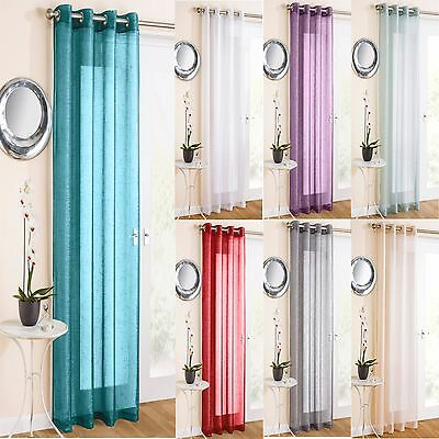 Glitter Sparkle Effect Voile Net Curtain Panel Eyelet Ring Top  Ready Made