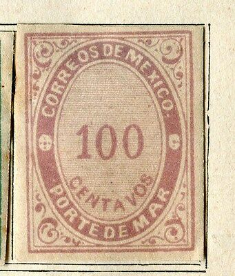 MEXICO;  1880 early Postage Due Imperf issue Mint unused 100c. value