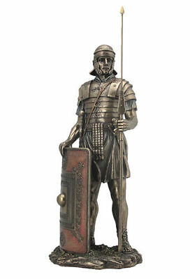 Roman Soldier Sculpture with Javelin And Shield Statue Figurine