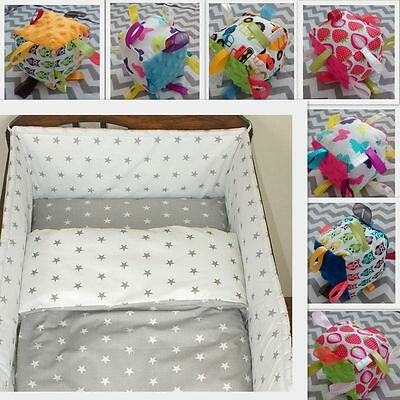 Baby Bedding Set 2-7 Pcs 120x90cm/135x100cm /150x120cm STARS Grey/White-CURTAINS