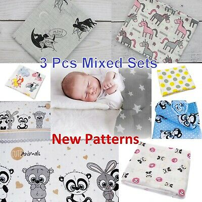 Lovely LARGE XXL Baby Super Soft Printed Muslin Square 80/70cm 100% Real Cotton