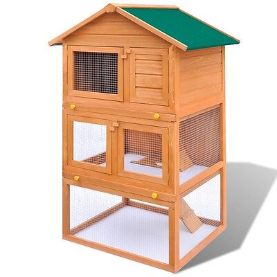 #b Outdoor Rabbit Hutch Small Animal House Pet Cage Carrier Coop 3 Layers Wood