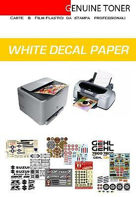 carta decalcomanie, waterslide decal paper (white): 1 foglio A4 fondo bianco