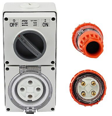 4 Pin 32 Amp 3 Phase Straight Plug & Switch Socket Outlet Combo 500V IPP62