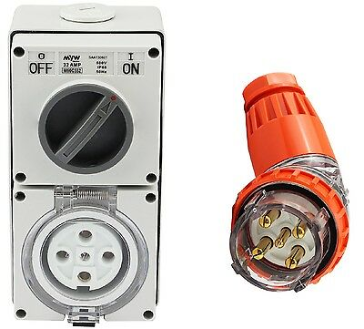 5 Pin 32 Amp 3 Phase Angled Plug & Switch Socket Outlet Combo 500V IPP66