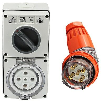 5 Pin 50 Amp 3 Phase Angled Plug & Switch Socket Outlet Combo 500V IPP66