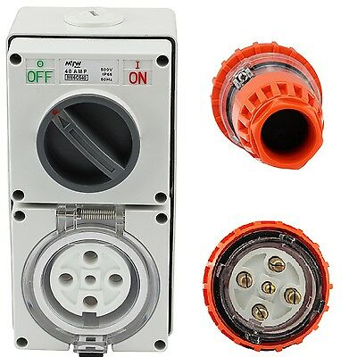 5 Pin 40 Amp 3 Phase Straight Plug & Switch Socket Outlet Combo 500V IPP65