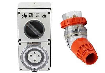 4 Pin 20 Amp 3 Phase Angled Plug & Switch Socket Outlet Combo 500V IPP66