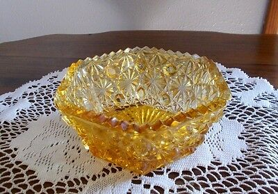 L G Wright Daisy & Button Gold Yellow 6- Sided Bowl Candy Dish