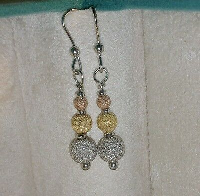 6f7fdec98 Ross Simons tri color 18k Yellow-Rose gold sterling silver Sparkle Ball  Earrings