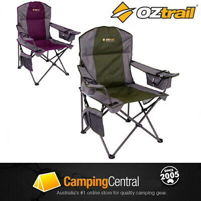 2 x Oztrail Cooler (Purple & Green) Folding Camping Picnic Arm Chair