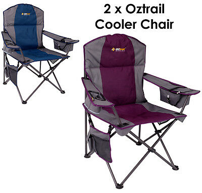 2 x Oztrail Cooler (Purple & Blue) Folding Camping Picnic Arm Chair Executive