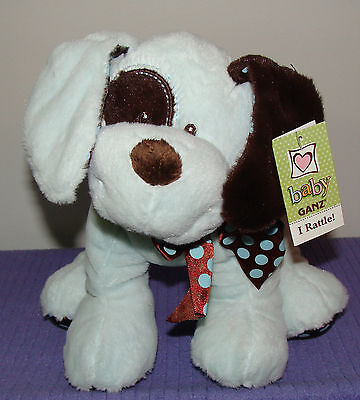 """New Ganz Chocolate Drops Dog With Inner Rattle Bg2609 Blue/brown 11"""" Long Nwt~Di"""