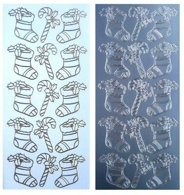 CHRISTMAS STOCKINGS & CANDY CANES Peel Off Stickers Holly Gold or Silver