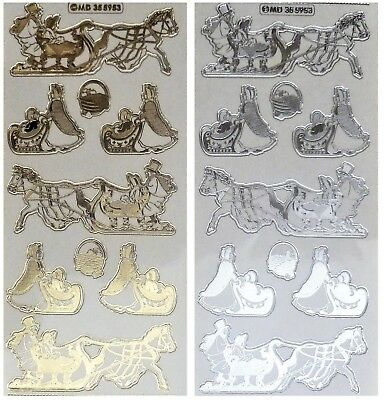 EMBOSSED HORSE SLED Peel Off Stickers Christmas Cart Gold Silver Clear Sticker