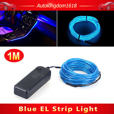1M Blue Interior Light Cold Car LED EL Wire Neon Lamp Atmosphere Glow Strip SUV