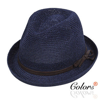 Color5 Women  Crochet Straw Fedora Trilby Hat  with Belt Band