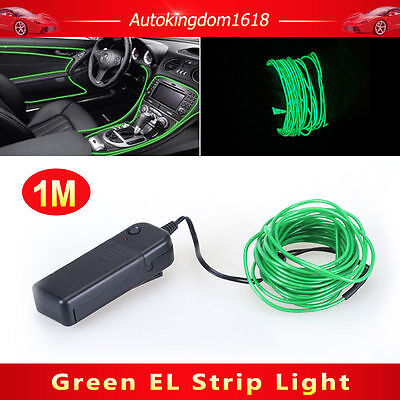 1M Green Interior Light Cold Car LED EL Wire Neon Lamp Atmosphere Glow Strip SUV