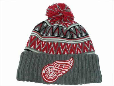 a9c10711083 Detroit Red Wings NHL Mitchell   Ness Tribal w  Pom Hat Cap Toque Beanie  OSFA