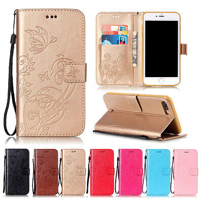 Luxury Leather Wallet Flip Pattern Card Strap Case Cover For iPhone 8 8 Plus 6