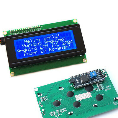 IIC/I2C/TWI Serial LCD 2004 20x4 Display Shield Blue Backlight for Arduino New T