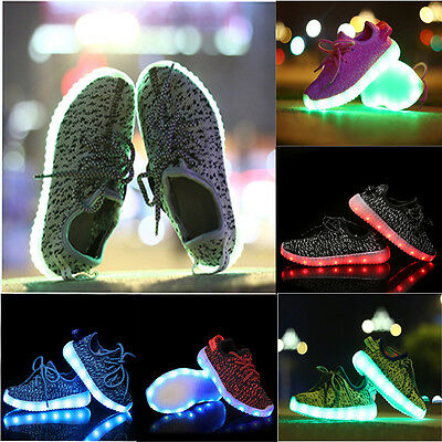 Boys Girl Kids Lovers Led Night Light-Up Sneakers Lace Up Casual  Shoes Sports