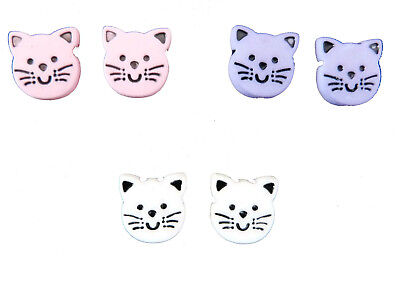 Cute Cat Face Girls Earrings Clip On Stud Or Magnetic Choice Of Colours