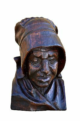 Antique French Large Breton Hand Carved Wood Figure - Woman Bust Head Folk Art