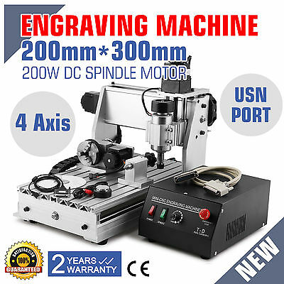 4 Axis Usb Cnc Router Engraver Engraving Cutter 3020T Usb Port 3D Woodworking