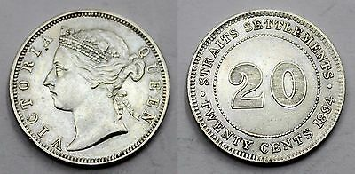 Straits Settlements 1894 Victoria Queen 20 Cents Silver Coin Au/xf