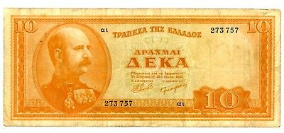 Greece ... P-189a ... 10 Drachmai ... 1954 ... *F*