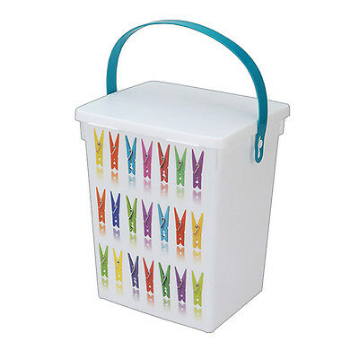 Plastic Clothes Peg Box Basket Clips Washing Drying Line Store Indoor Outdoor