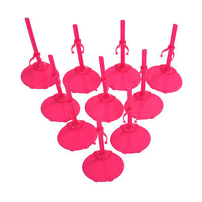 10 X Support Pedestal Display Stand For Barbie Doll -Rose Red PK