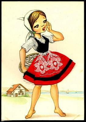SPAIN Embroidered Silk Postcard - Girl in Traditional Dress