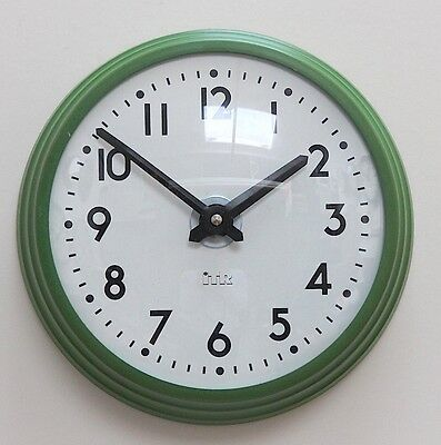ENGLISH 1970s ITR Green Vintage Retro Midcentury Industrial Factory Office Clock