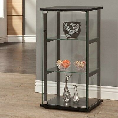 Glass Display Case Curio Cabinet Black Frame Countertop Floor Clear Door 3 Shelf