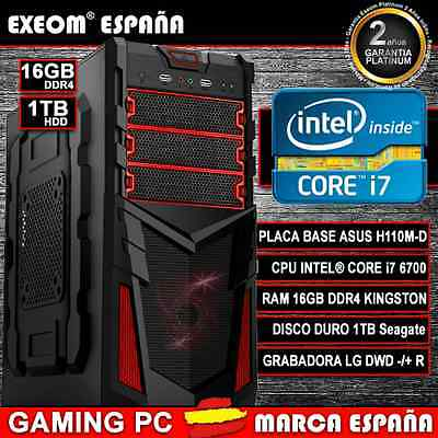ORDENADOR NUEVO PC GAMING INTEL CORE i7 6700 6ª GEN 16GB DDR4 1TB HDMI