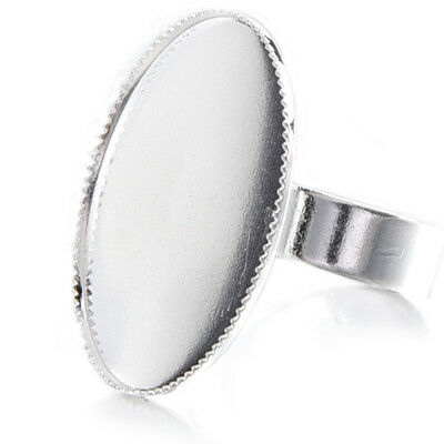 10 Adjustable Oval Cabochon Rings Support silver 18.3mm  PK