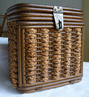 Wicker Hinged-Front Basket - Very Early 1900's - Edwardian? Very Nice Condition