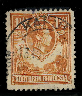 """Northern Rhodesia - 194? - Sg30 Cancelled """"kafue"""" Double Circle Date Stamp"""