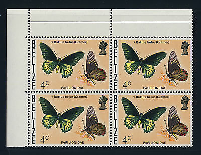 BELIZE - 1977 - 4c BATTUS BELUS (Cramer) BUTTERFLY - SG407 BLOCK OF 4 U/M