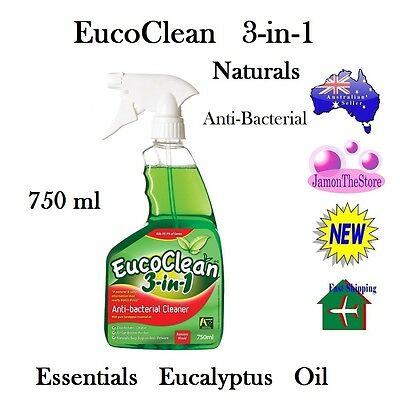 EucoClean Anti-Bacterial Natural 3-In-1 Cleaner Essential Eucalyptus Oil 750ml